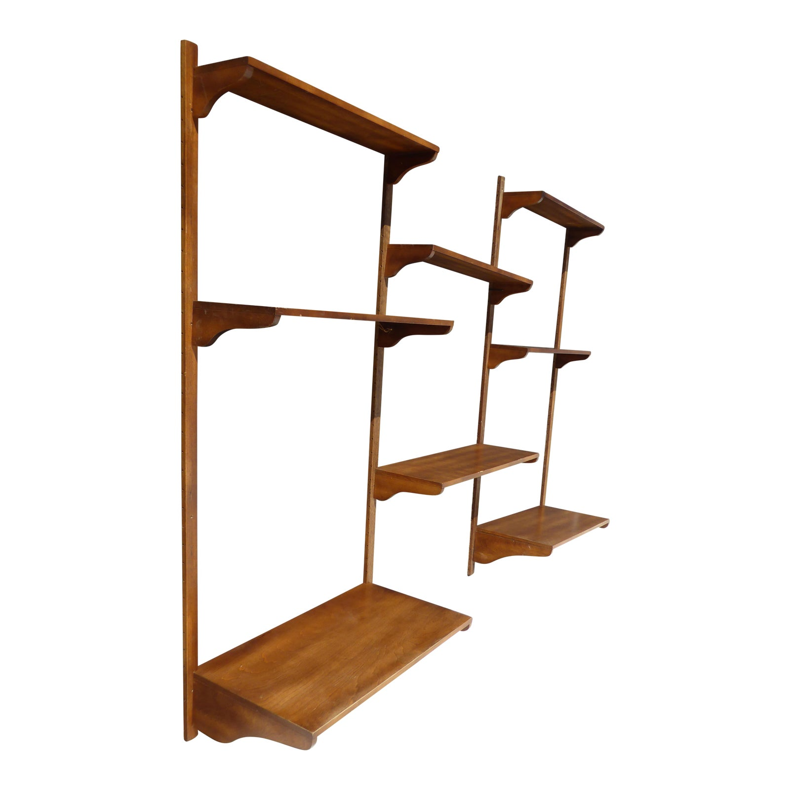 Vintage Danish Mid Century Modern Eight Shelf Wall Unit ~