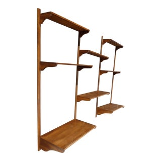 Vintage Danish Mid Century Modern Eight Shelf Wall Unit ~ Bookcase W 2 Desks For Sale