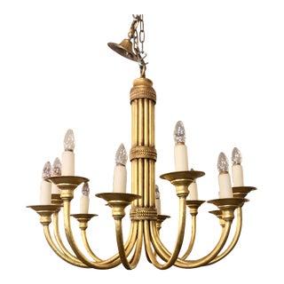 Maison Jansen Art Deco Gilt-Metal 12 Light Chandelier For Sale