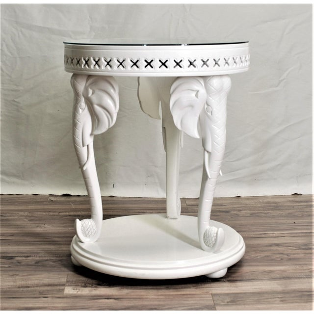Carved Elephant Side Table - Image 2 of 7