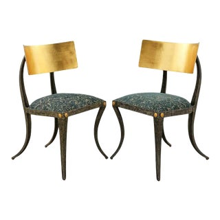 Gilt Iron Klismos Chairs by Ched Berenguer-Topacio - a Pair For Sale