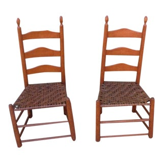 Pair of Shaker Style Ladderback Chairs For Sale