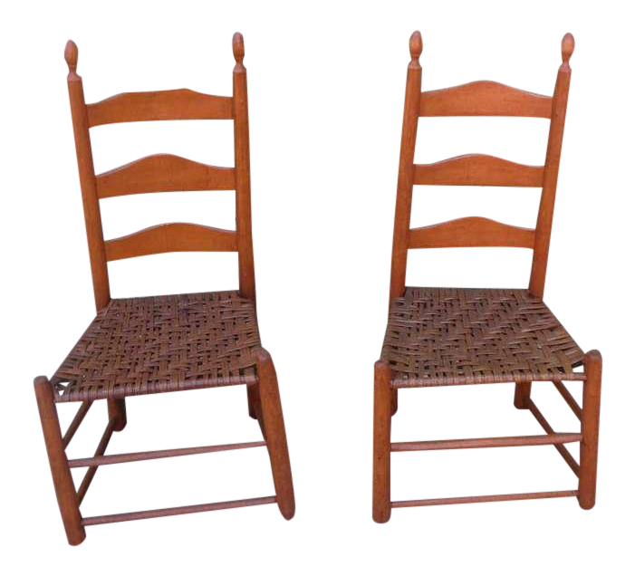Beau Pair Of Shaker Style Ladderback Chairs For Sale
