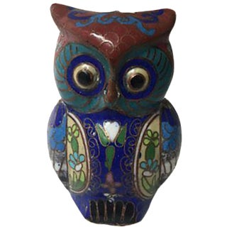 Vintage Cloisonné Owl For Sale