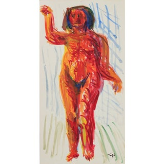 Jennings Tofel Expressionist Nude Watercolor Painting, Early 20th Century For Sale