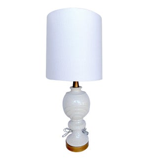 Vintage White Crackle Porcelain Lamp With Shade and Gold Base For Sale