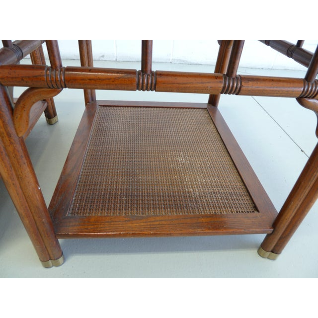 Vintage Faux Bamboo & Cane Regency Side Tables - a Pair For Sale - Image 9 of 12