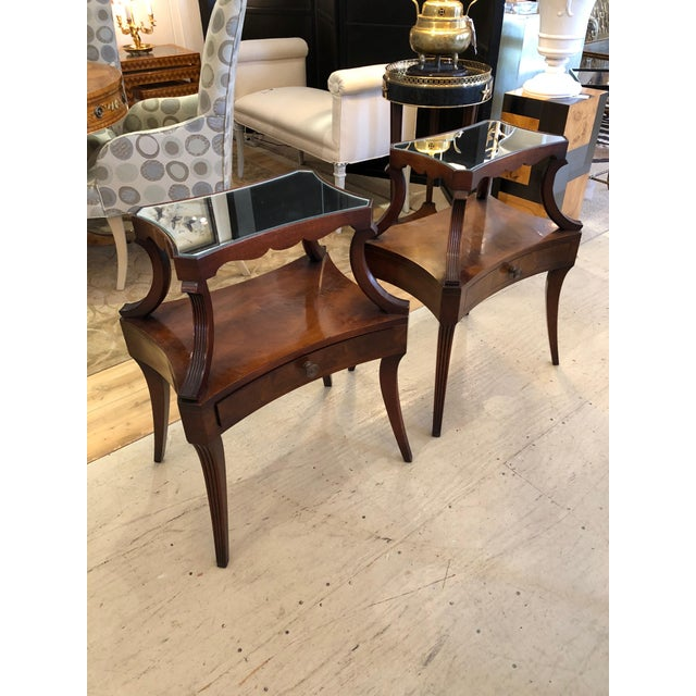 1930s Traditional Grosfeld House Crotch Mahogany 2-Tier Nightstand - a Pair For Sale In Philadelphia - Image 6 of 13