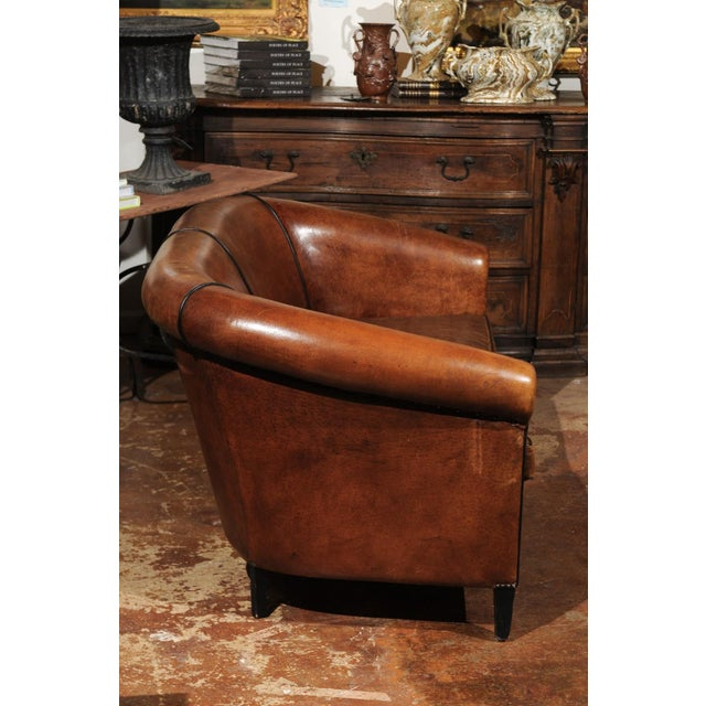 French Turn of the Century Brown Leather Sofa with Nailhead Trim, circa 1900 For Sale - Image 10 of 12