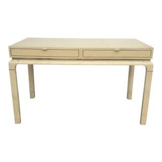 Vintage Hollywood Regency Faux Goatskin or Parchment Finish Desk With Brass Details For Sale
