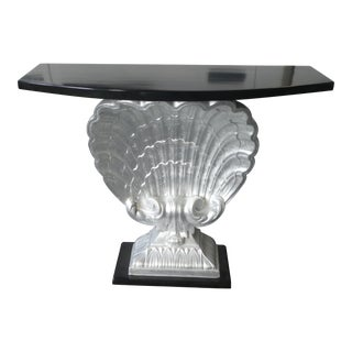 1940s Hollywood Regency Grosfeld House Metallic Leaf Shell Console Table For Sale