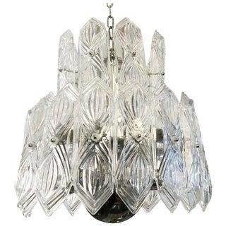 Vintage Etched Glass Chandelier For Sale