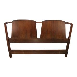 1960s Danish Modern Walnut Double Shield Back Headboard For Sale