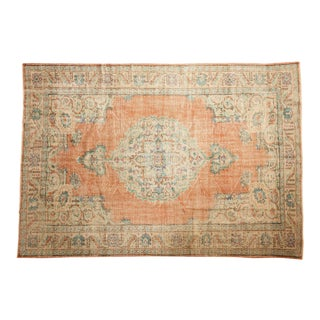 "Vintage Distressed Oushak Carpet - 7' X 10'2"" For Sale"
