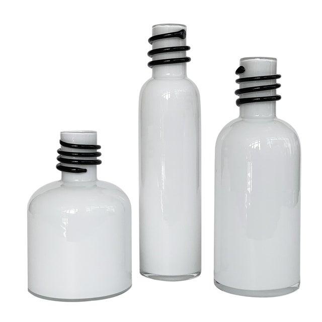 Set of 3 White Cased Glass Vases / Bottles by Tarnowiec For Sale