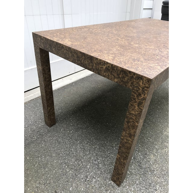 Vintage Burl Wood Laminate Parsons Style Dining Table For Sale - Image 4 of 10