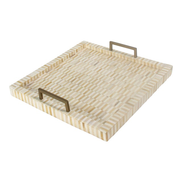 Nevis Square Multi-Tone Bone and Brass Tray For Sale