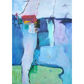 "Original Mixmedia Acrylic Painting ""Waterfront"" For Sale"
