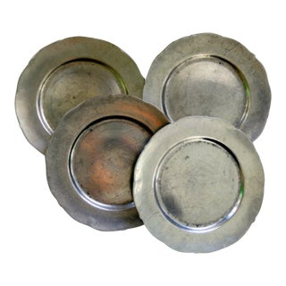 1929 Pacific Pewter Plates - Set of 4 For Sale