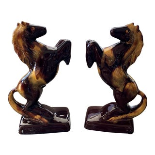 Vintage Mid-Century Ceremic Stallion Bookends - A Pair For Sale