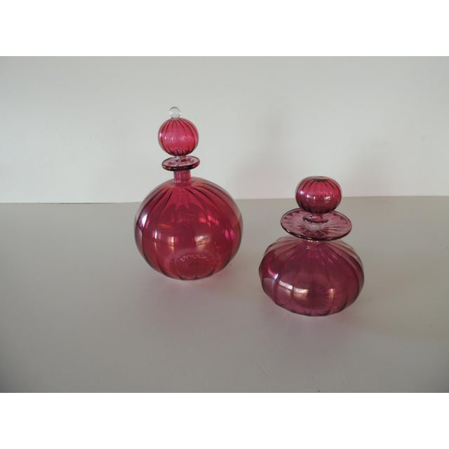 Late 20th Century Pair of Egyptian Hand-Blown Cranberry Perfume Bottles For Sale - Image 5 of 5