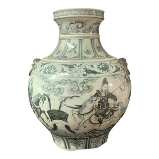 1980s Chinese Art Porcelain Blue and White Vase For Sale