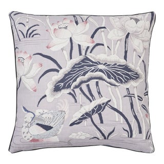 Schumacher Lotus Garden Pillow in Lilac For Sale