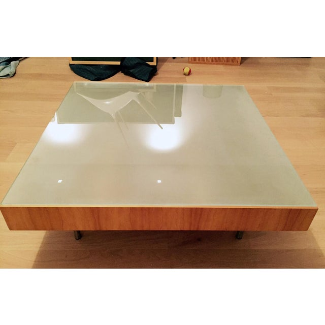 Modern Glass and Wood Coffee Table - Image 2 of 5