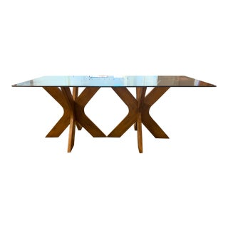 West Elm Double Pedestal Wood X Base + Glass Top Table For Sale