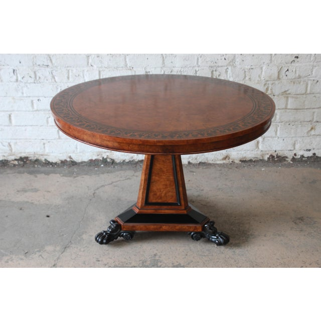 Baker Furniture Stately Homes Collection Burl Ash Regency Center Table For Sale - Image 11 of 12