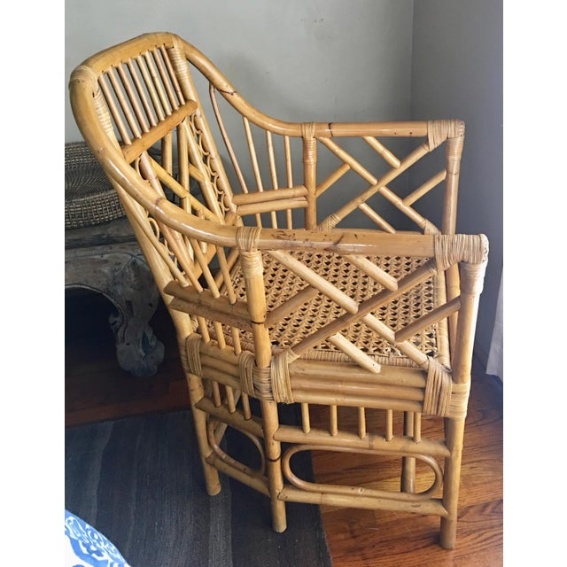 Asian Vintage Mid Century Chinoiserie Brighton Pavilion Style Rattan & Cane Arm Chair For Sale - Image 3 of 7
