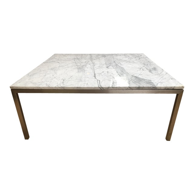 Crate And Barrel Black Marble Coffee Table: Crate & Barrel Square Stainless Steel & Marble Top Coffee