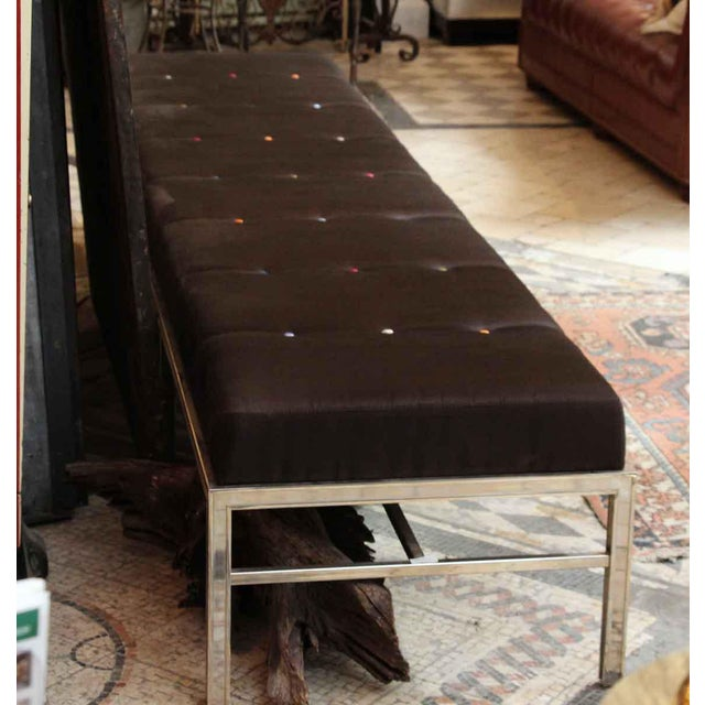 Oversized Bench With Brown Satin Cushion For Sale - Image 5 of 5