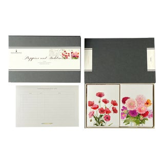 """Poppies and Dahlias"" - Couplet Boxed Stationery - Folded Card Pair - Set of 10 For Sale"