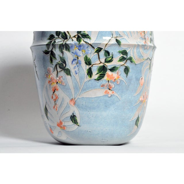 Asian Modern Hand Painted Ceramic Vase For Sale - Image 4 of 6
