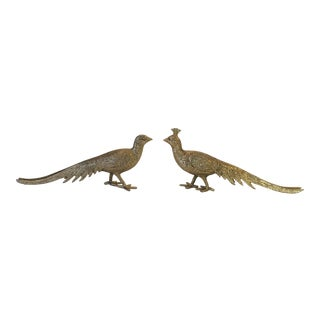 Vintage 1960s Brass Pheasants - a Pair For Sale
