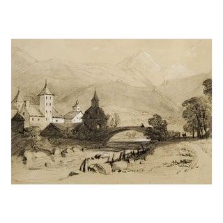 Circa 1900 River Scene Drawing For Sale