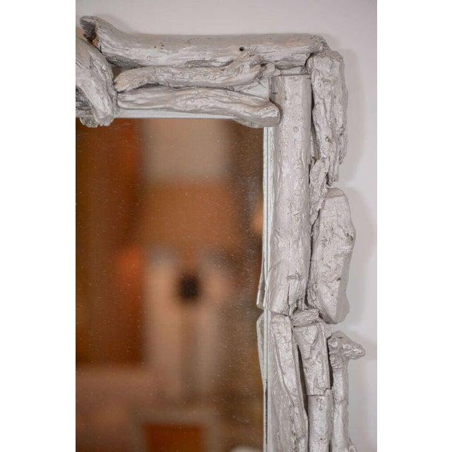 1980s Vintage Silver Leafed Driftwood Frame Mirror For Sale - Image 5 of 7
