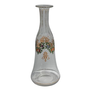 Antique Hand Painted Floral and Fruits Pattern Colorful Venetian Glass Decanter For Sale