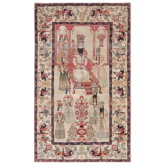Pictorial Antique Persian Kerman Rug - 4′8″ × 7′6″ For Sale