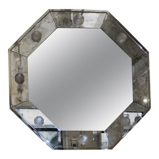 Andre Hayat Octagonal Oxydized Mirror Frame With a Silver Frame For Sale