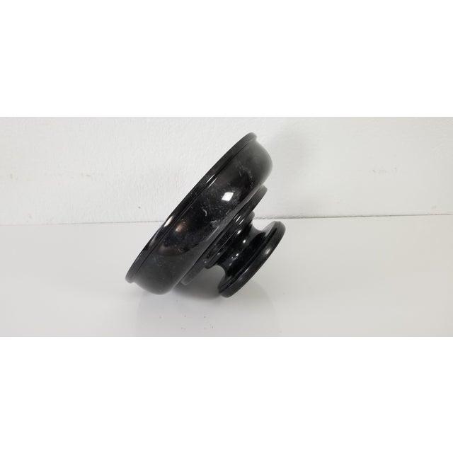 Black Vintage Black Marble Pedestal Bowl For Sale - Image 8 of 9