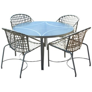 Mid-Century Modern Brown Jordan Kantan Patio Dinette Set Table Four Chairs 1960s For Sale