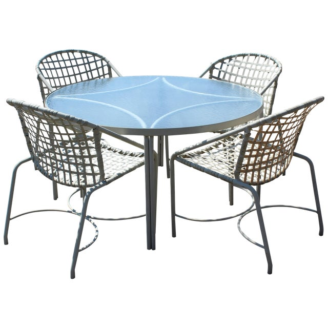 Mid-Century Modern Brown Jordan Kantan Patio Dinette Set Table Four Chairs 1960s For Sale