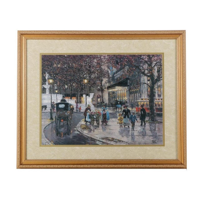 Early 1900s Street Scene Lithograph by Robert Lebron For Sale In Buffalo - Image 6 of 6
