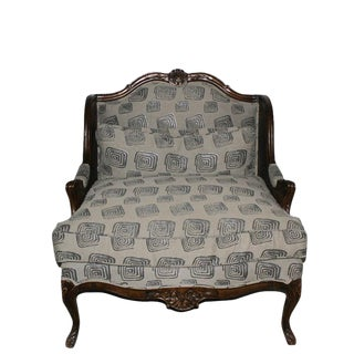 1980s Louis XV Walnut and Caned and Upholstered Armchair