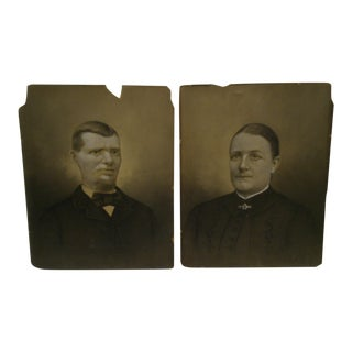 C. 1885 Husband & Wife Color Photographs - A Pair For Sale