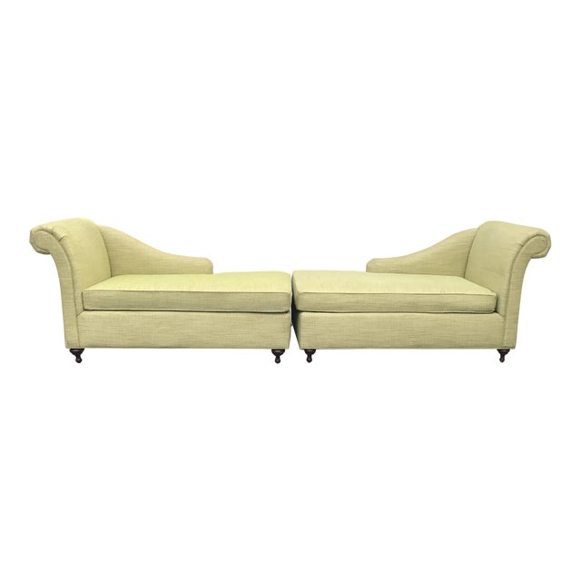 Mid Century Modern Bright Green Canvas Fainting Chairs - a Pair For Sale