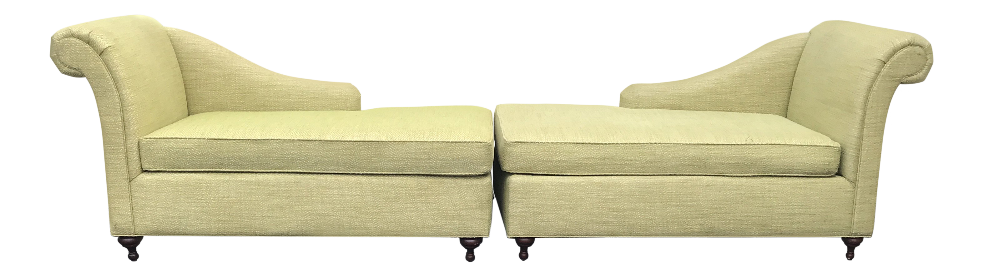 Mid Century Modern Bright Green Canvas Fainting Chairs   A Pair