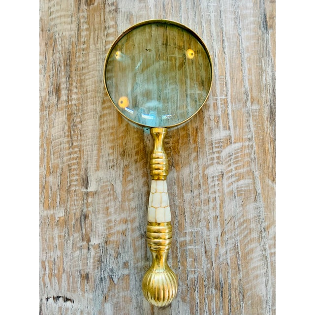 Vintage Brass Magnifying Glass With Mother of Pearl Inlay For Sale In Tulsa - Image 6 of 9
